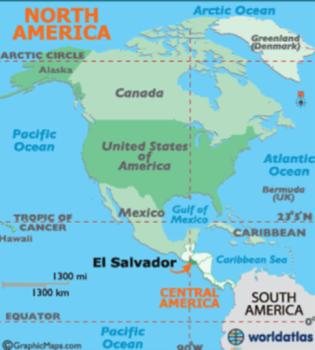 El Salvador en Un Mapa de América del Norte y América Central