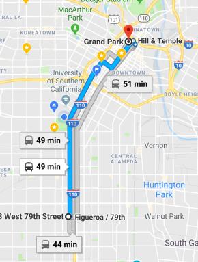 Mi ruta para llegar a Grand Park